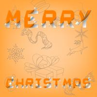 Feliz Natal e newyear feliz na arte gráfica de vetor do eps.