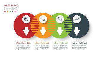 Quatro infográficos de círculo harmonioso. vetor
