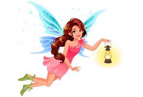 Cute, pequeno, fada, segurando, um, lanterna