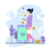 Mulheres que compram alguns bens usando o telefone dela. Loja on-line e conceito de comércio eletrônico vetor