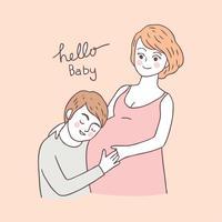 Vetor bonito da mulher gravida e do marido dos desenhos animados.