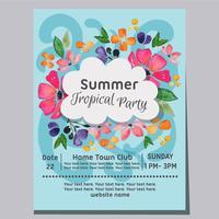 cartaz de aquarela de fundo do verão festa tropical praia onda vetor