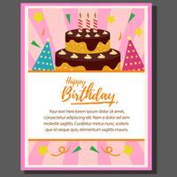 cartaz de tema feliz aniversário com torre de bolo em estilo simples