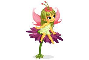 linda fada pequena flor sentado na flor