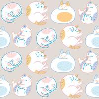 Vetor sem emenda do teste padrão do gato doce bonito dos desenhos animados.