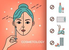 Injeções cosméticas. Infográficos vetor