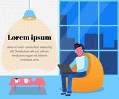 Homem em fones de ouvido com o laptop em um saco de cadeira. Escritório em estilo loft, janela panorâmica. Coworking, fluxo de trabalho. Ilustração em vetor plana no estilo de um desenho animado.