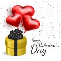 Vector cartão com corações 3d