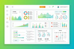 Modelo de design do painel painel admin vector com elementos de infográfico, gráfico, diagrama, gráficos de informação. Painel de controle do site para a página da web de design ui e ux. Ilustração vetorial