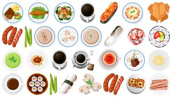 Conjunto de comida asiática vetor