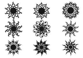 Pacote decorativo de vetores do sol