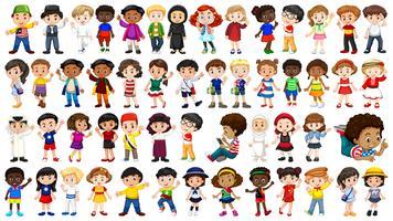 Conjunto de caráter internacional de crianças vetor