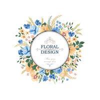 Padrão de quadro floral. Fundo da borda do círculo da flor. Cumprimento vetor
