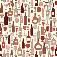 Garrafa de vinho e copo de vinho padrão sem emenda. Beba vinho festa b vetor