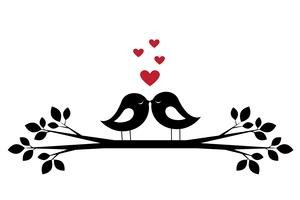 Beijo de pássaros bonitos de silhuetas e corações vermelhos
