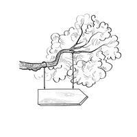 Letreiro da seta no ramo de árvore. Tabuleta de madeira desenhada. Sinal de informação