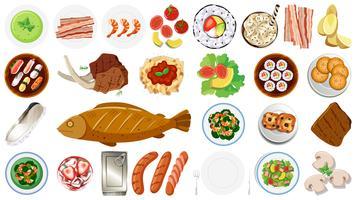 Conjunto de comida diferente vetor