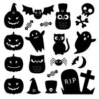Ícones fofos de Halloween preto