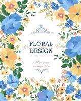 Padrão de quadro floral. Fundo da borda da flor. Cartão de saudação vetor