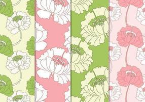 Padrões vetoriais florais rosa e verde sem costura