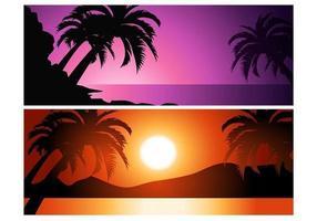 Pacote de fundo do vetor do por do sol tropical
