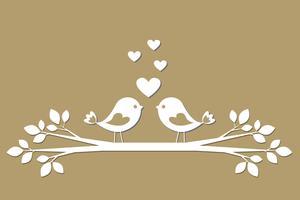 Pássaros bonitos com corações cortando de papel vetor