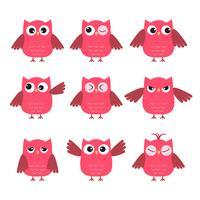 Conjunto de giros corujas-de-rosa com várias emoções vetor