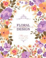 Padrão de quadro floral. Fundo de buquê de flores. Design de cartão vetor