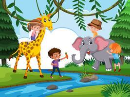 Crianças, tocando, com, animal selvagem vetor