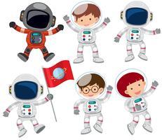 Um conjunto de astronauta vetor