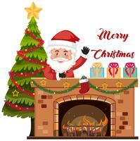 Presente de entrega de Papai Noel pela chaminé vetor