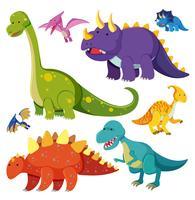 Conjunto de personagem de dinossauro vetor