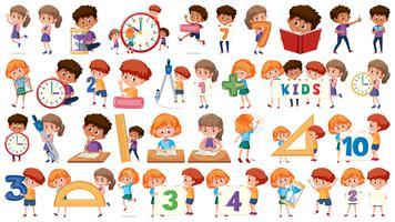 Conjunto de crianças de matemática vetor