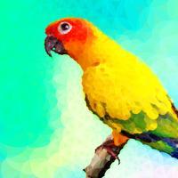 papagaio colorido com estilo de polígono vetor