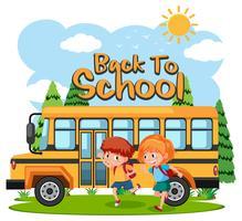 Alunos indo para a escola de ônibus vetor
