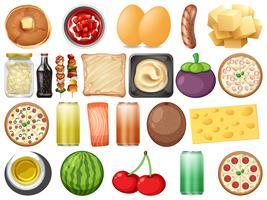 Conjunto de comida saudável vetor
