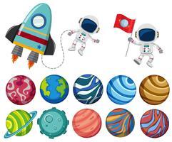 Um conjunto de elemento do sistema solar vetor