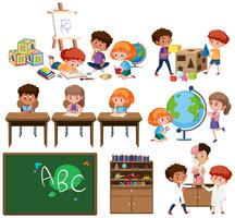 Conjunto de aprendizagem de crianças vetor