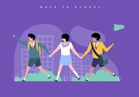Crianças de volta à ilustração do conceito de escola