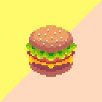 Vector de pixel de hambúrguer arte