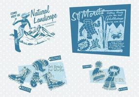 Pacote de vetores de publicidade de inverno vintage