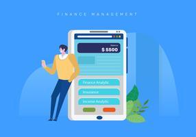 Ilustração de aplicativo móvel de gestão de finanças vetor