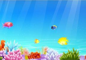 Banner de vetor de vida marinha