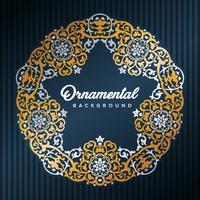 Quadro árabe da estrela. Design islâmico emoldurado por padrões de ouro. Elemento de decoração mesquita. Fundo da elegância com área de entrada do texto em um centro. Ilustração vetorial