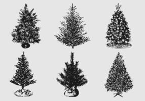 Pacote de vetores em silhuetas de árvore de natal