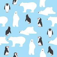 ursos polares bonitos com padrão de pinguins saemless vetor