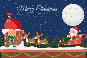 Modelo de feliz Natal à noite vetor