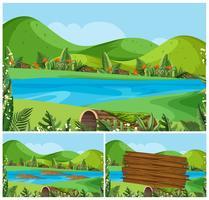 Cenas da natureza com montanhas e rio
