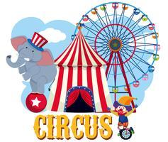Elemento de circo no fundo branco vetor