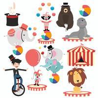Personagens de circo adorável cartoon festival conjunto